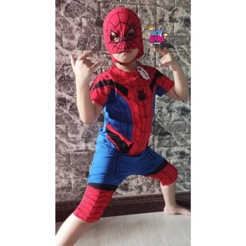 Quần áo siêu nhân Spider-Man - Set bộ người nhện kèm mặt nạ và áo choàng cho bé trai
