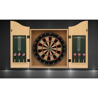 Combo hộp tủ phi tiêu treo tường gỗ bạch đàn nguyên bộ bảng, 6 tiêu, đá mài (wood dartboard cabinet set)