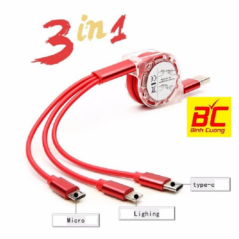 Cáp sạc điện thoại 3 đầu đa năng dây rút dài 1m - 2599666 , 1235608824 , 322_1235608824 , 50000 , Cap-sac-dien-thoai-3-dau-da-nang-day-rut-dai-1m-322_1235608824 , shopee.vn , Cáp sạc điện thoại 3 đầu đa năng dây rút dài 1m