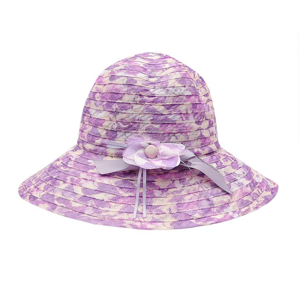 Mũ vành vải voan thời trang cao cấp màu tím EH34-7