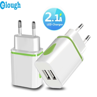 Củ Sạc Elough 2 Cổng USB 5V 2A Phích Cắm US/EU Có Đèn Led Phù Hợp Cho Du Lịch