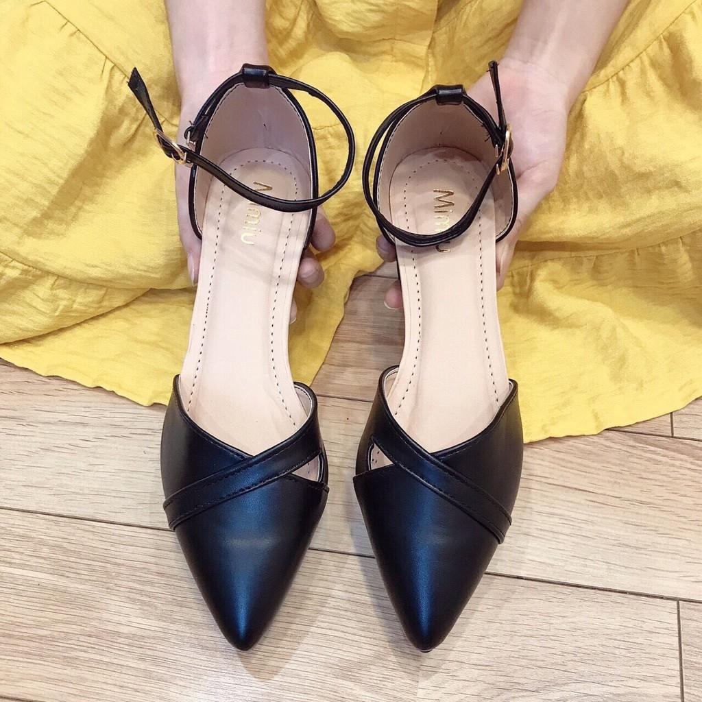 Giày sandal cao gót nữ đế vuông ,giày cao gót nữ mũi nhọn thanh lịch, gót cao 3p chuẩn size 35-40