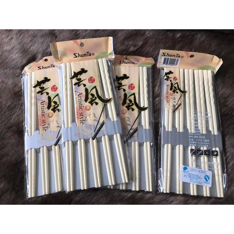 Đũa Nhật ShunTa Trắng Ngà Xoắn Cao Cấp 22.5cm 10 đôi/bao