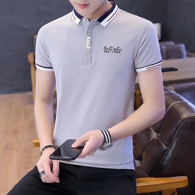 Áo thun nam ngắn tay cổ bẻ logo XXX và logo chữ B