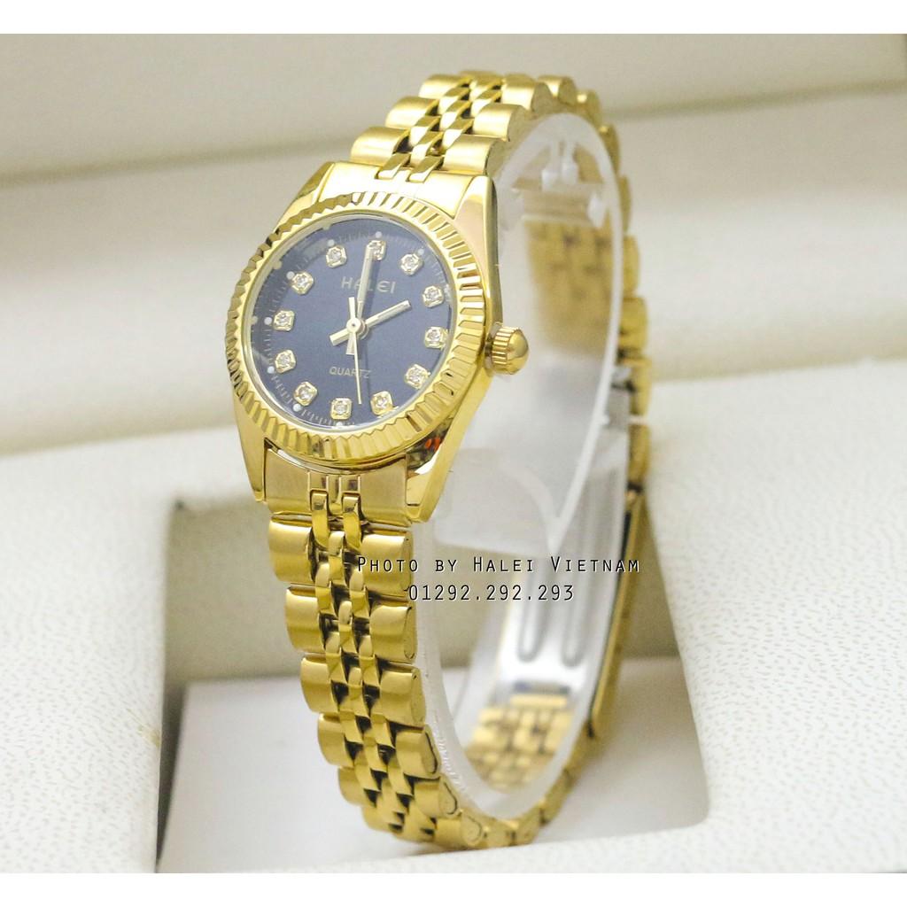Đồng hồ nữ Halei 356 dây vàng mặt đen cực đẹp