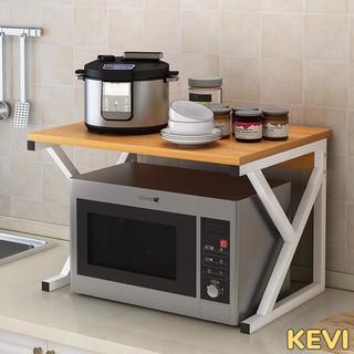 Kệ để lò vi sóng 2 tầng, giá để lò vi sóng kết hợp để nồi cơm điện và kệ đựng gia vị thương hiệu KEVI