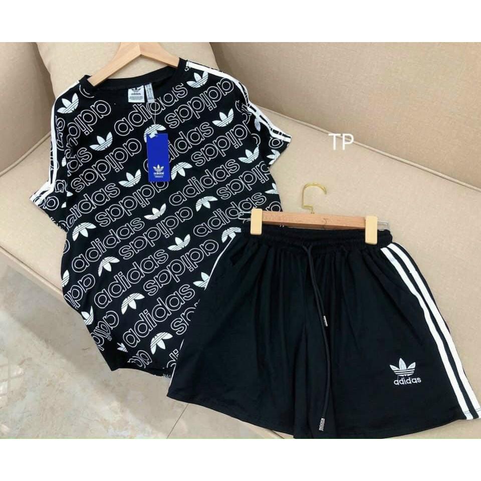 Mặc gì đẹp: Thoải mái với Sét đồ thể thao nữ DAS ba màu siêu hót sét bộ quần đùi áo phông oversize mặc nhà mặc chơi thể thao