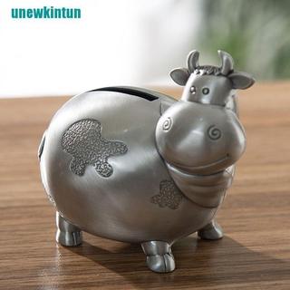 ❤Creative Cow Alloy Tin Metal Piggy Bank Money Box Metal Coin Bank Saving Box