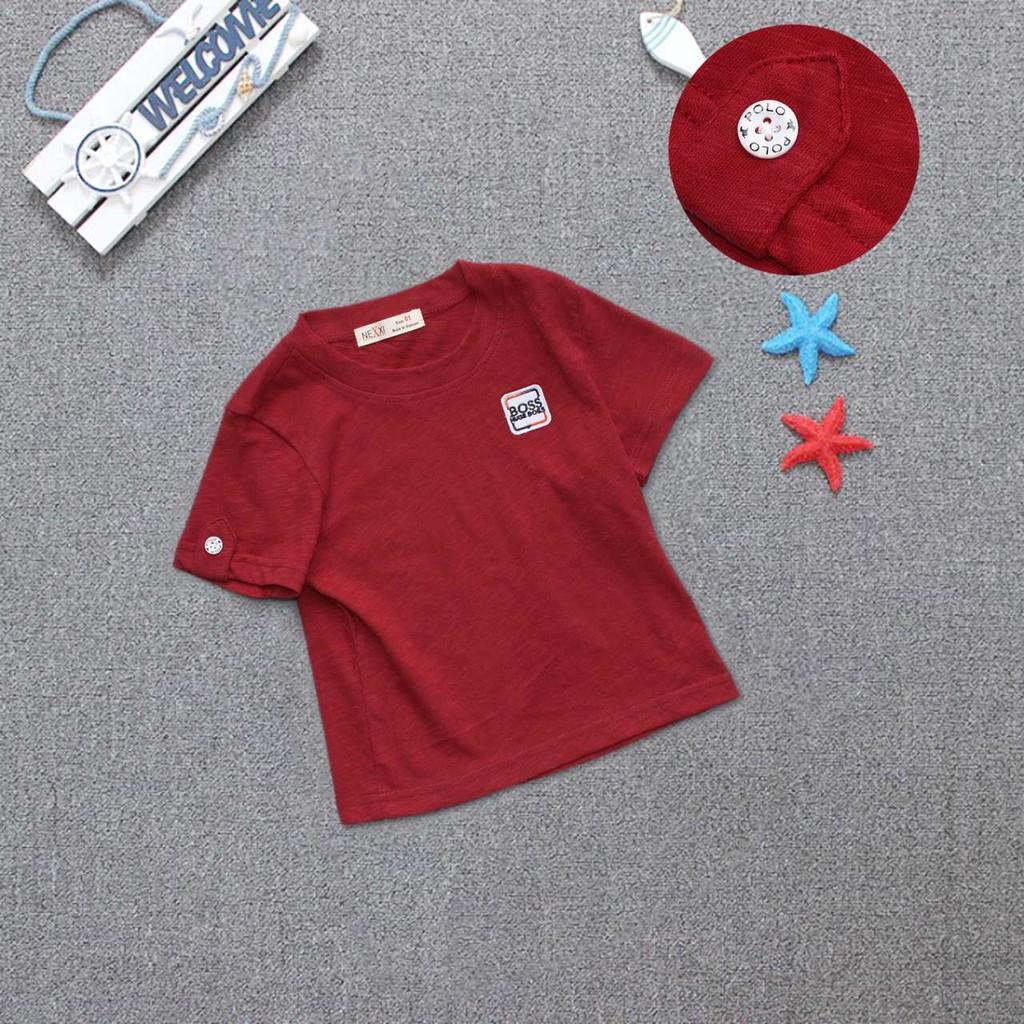 Áo thun Nexxi bé trai vải xượt cực mềm mại và mát mẻ in logo Boss màu trắng hợp mặc mọi loại quần k80