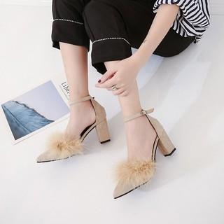 giày cao gót cá tính/freeship từ 150k/Giày cao gót phối lông trang trọng hàng Quảng Châu ( 2 màu )