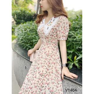 Váy hoa cổ thêu V1464 – DVC Fashion (Kèm ảnh thật trải sàn do shop tự chụp)