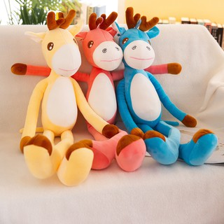 Cute deer pillow baby deer bed sleeping doll plush toy doll doll long pillow super soft female gift