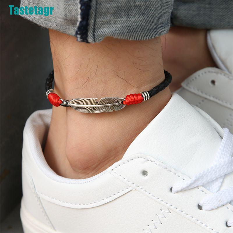 【Tastetagr】Boho Handmade Man Feather Leather Rope Anklets Barefoot Sandal Beach Jewelry