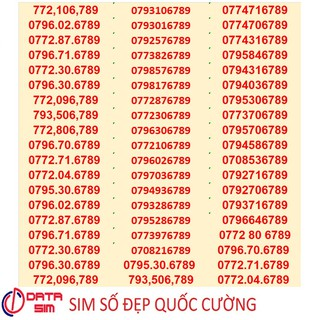 Sim sảnh 6789 sang bằng tất cả mobifone trả trước đồng giá