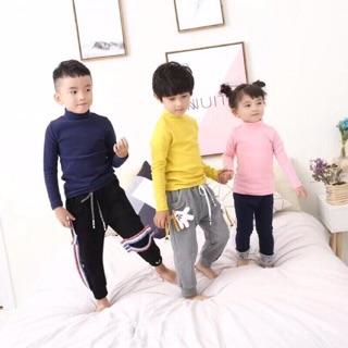Áo giữ nhiệt cao cổ xuất Hàn cho cả bé trai và bé gái (loại cổ 3 phân)
