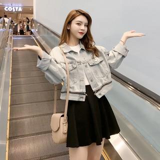 Áo khoác jean, bò nữ lửng CRTOP trắng xám khóa dưới thời trang 2020
