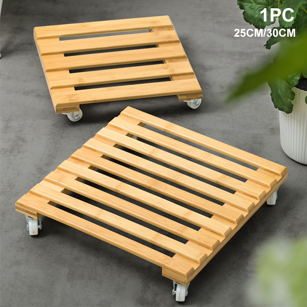Square Home Stable Bamboo Natural Move Thicken Garden Multifunctional Flower Pot Holder