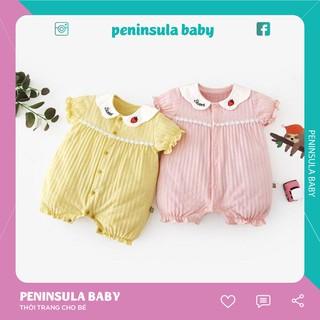 Áo bé gái thêu cổ liền quần chất liệu cotton, phong cách búp bê cho trẻ sơ sinh và trẻ mới biết đi G01