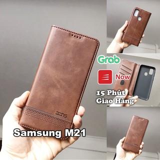 Bao da ốp lưng điện thoại Samsung M21 M20 kèm ví gập nắp da thật mềm mịn – azns