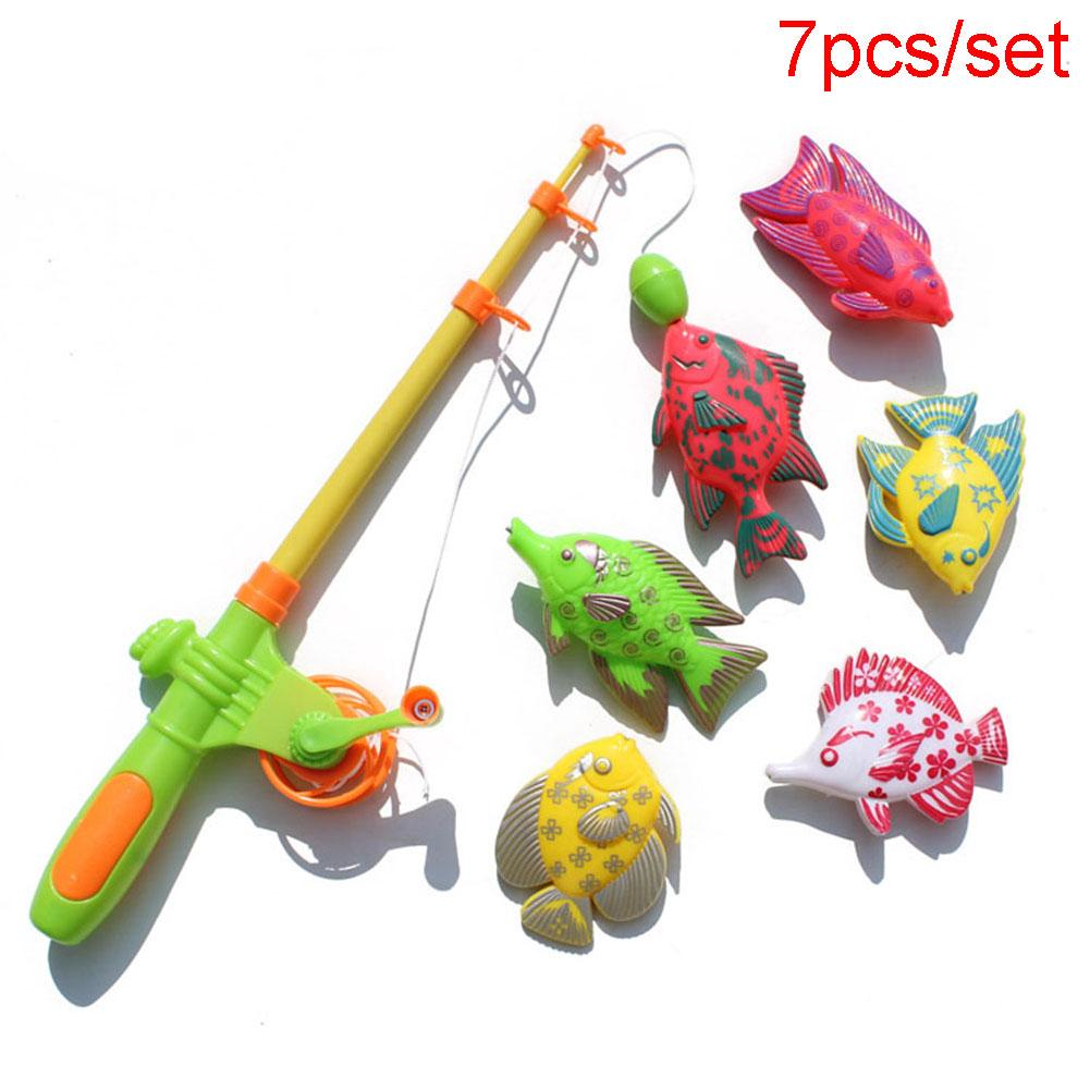 7pcs/set Children's Fishing Toys 1 Plastic Rod+6 Magnetic Fish Baby Gift