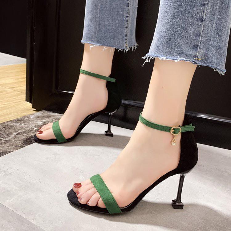 Giày cao gót Nhọn 7p quay mảnh bít gót ( không có khoá hạt)