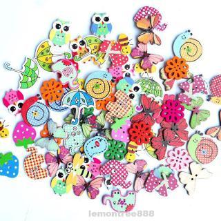 Button 2-holes Wooden Cartoon Crafts Cute DIY Handmade Accessories Scrapbooking Sewing