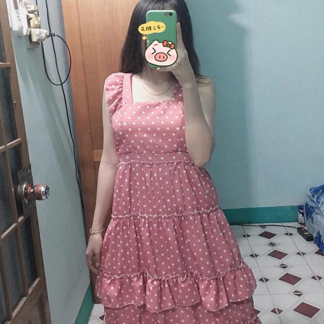 Đầm maxi bi hồng