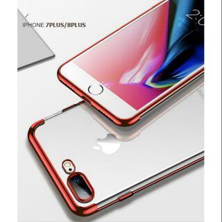 Ốp lưng iphone 8 plus silicon trong viền màu thời trang