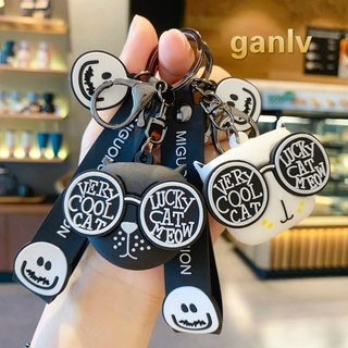 ganlv Cartoon happy smile face Keychain girl's and boy's lovely key chain bag pendant lovers accessories creative gifts wholesale + retail