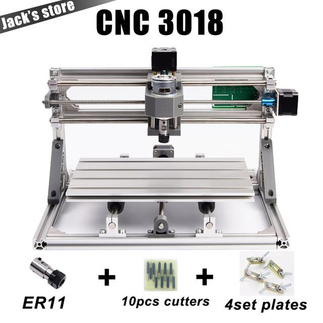Máy cnc mini CNC3018 + 10 mũi phay PCB + 4 Set plates + ER11