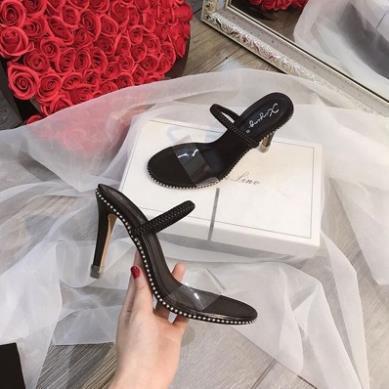 Giày cao gót viền bi quai trong gót 7cm
