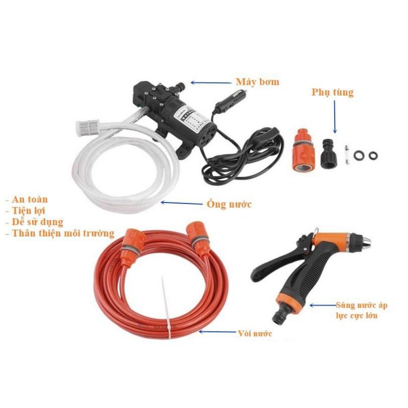 VioletShop1688 -  Máy rửa xe mini tăng áp 12V trên ô tô lực nước mạnh