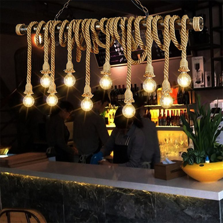 Dây thừng 2 đầu treo đèn trang trí nhà cửa kiểu Vintage độc đáo