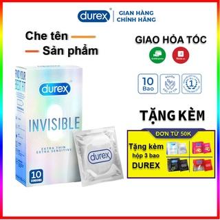 Bao cao su Durex Invisible Extrathin 10 bao. Bcs siêu mỏng + Tặng kèm bao durex 3 cái. ( Chọn phần quà )