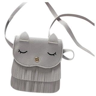 Children Tassel Small Cat Shoulder Messenger Bag Mini Light Grey