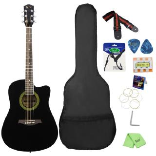 41inch Acoustic Guitar Cutaway Design Basswood Guitarra with Guitar Bag Strap String Pick Six-hole