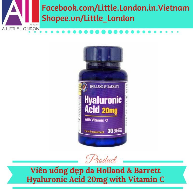 Viên uống cấp ẩm và sáng da Holland & Barrett Hyaluronic Acid 20mg with Vitamin C (Bill Anh)