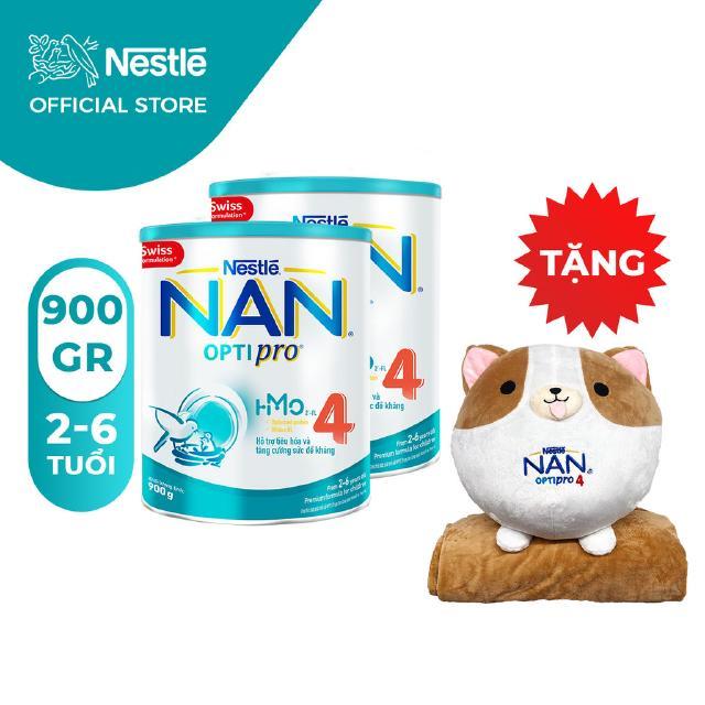 Combo 2 Lon Sữa Bột Nestle NAN Optipro 4 (900g/hộp) [Tặng 1 Bộ Gối Mền Corgi]