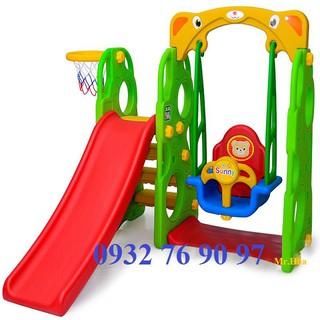 Cầu trượt xích đu bóng rổ Mini cho trẻ em