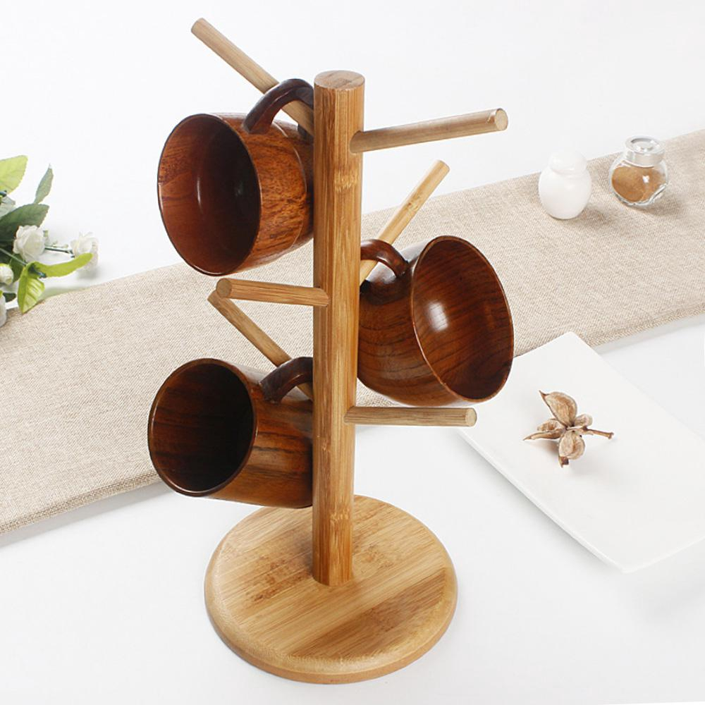 Tree Storage Rack Coffee With 6 Hooks Wood Mug Rack Stand Organizer Cup Holder