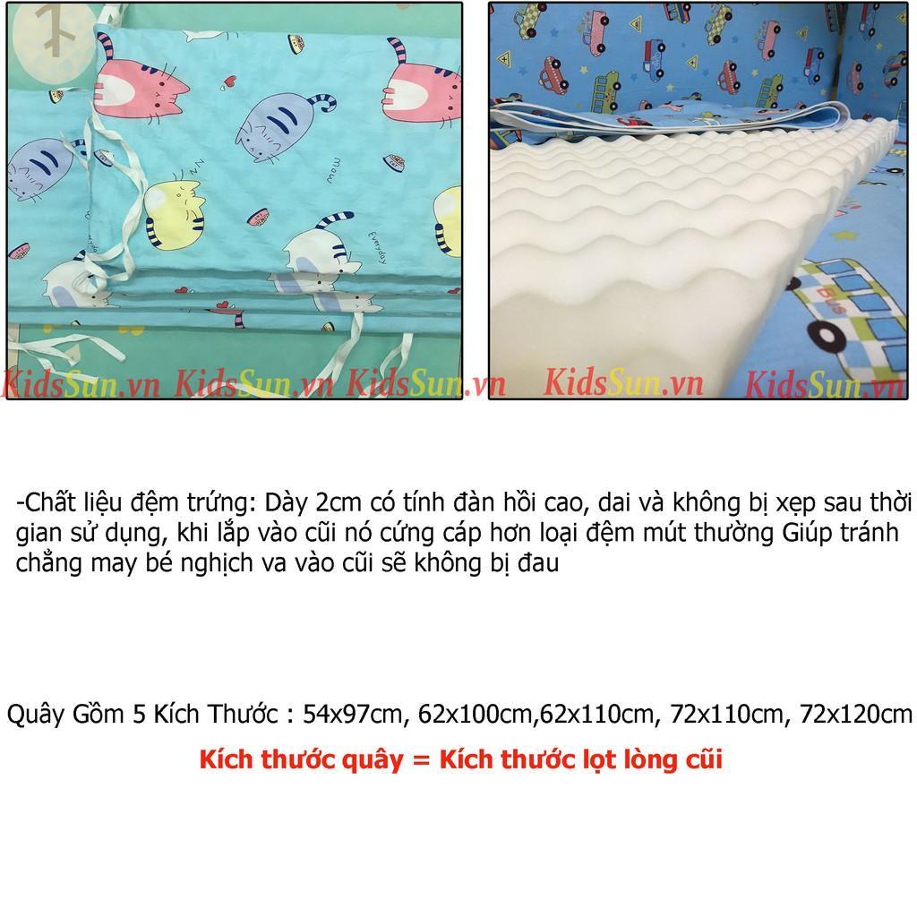 Quây Cũi KIDSSUN Cho Nôi Cũi Trẻ Em Gồm 4 Tấm Quây Xung Quanh Cũi Chất Liệu Đệm Trứng Và Vải Cotton Mềm Mịn