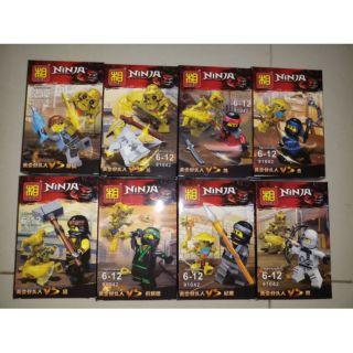 Đồ chơi lắp ráp lego ninjago và bộ xương vàng, trọn bộ 8 hộp Lezi 91042.