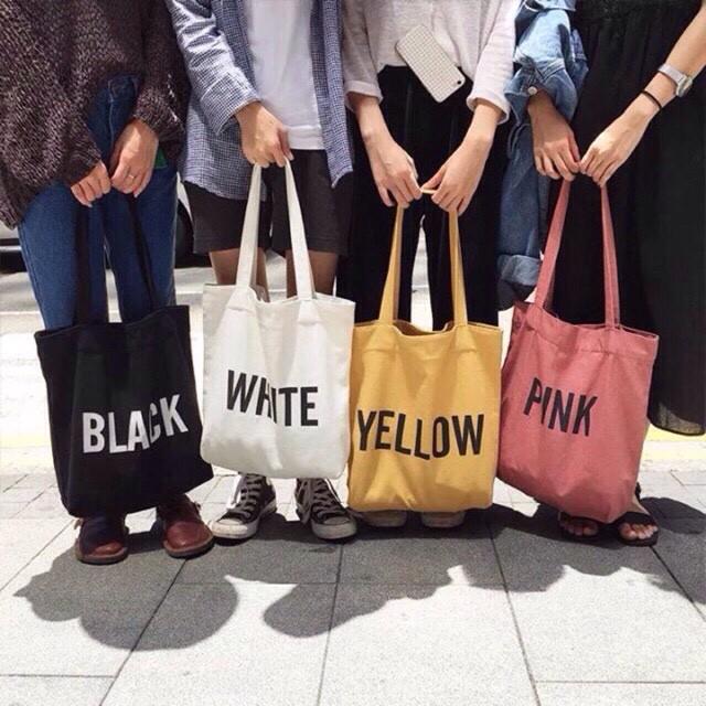 Túi vải Tote Black, White, Yellow, Pink thời trang
