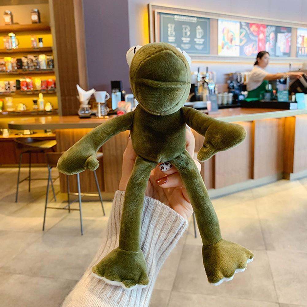 Móc khóa treo balo ếch bông xanh hot trend chân dài loại đẹp