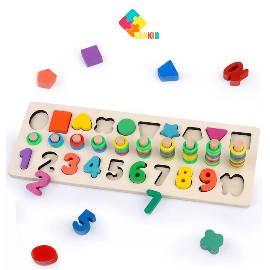 Bộ logic 3 dòng Montessori học đếm, số và hình khối