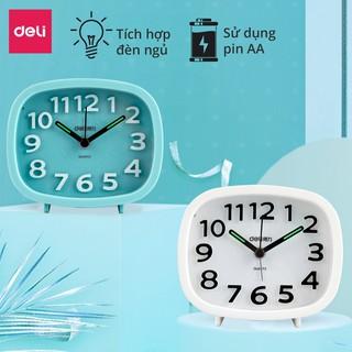 Đồng hồ báo thức dạ quang Deli - Trắng Xanh dương - 8800 thumbnail