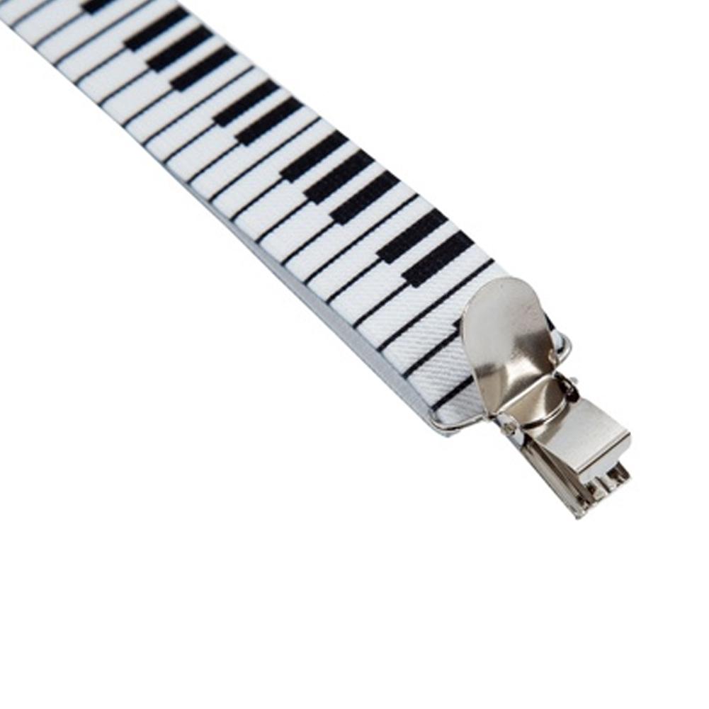 Stylish Fashion Unisex Adult Clip-on Suspenders Black White Piano Keyboard Pattern Elastic Y-back Braces