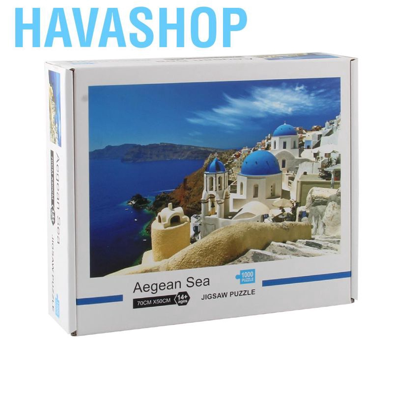 Havashop 1000pcs Plane Puzzles DIY Paper Sea Scenery Jigsaw Adolescent Toys Gift