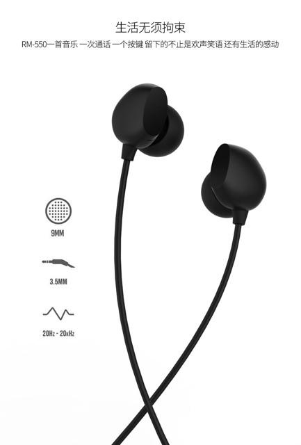 Tai nghe nhét tai dây remax RM 550 chính hãng có mic với dây dài - Tai nghe nghe nhạc hoặc tai nghe chơi game