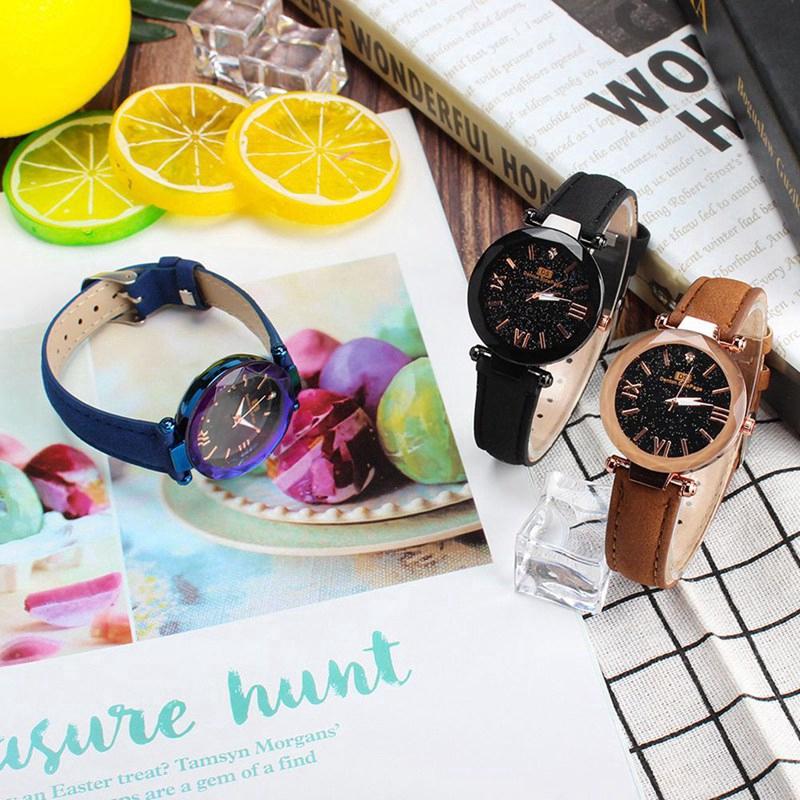 Women Starry Watch Magnetic Buckle Stainless Steel Watch